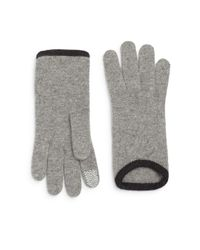 Saks Fifth Avenue - Gray Smartphone Capable Trimmed Gloves - Lyst