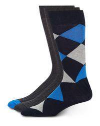 Saks Fifth Avenue | Blue Cotton-blend Socks/3-pack for Men | Lyst