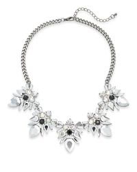 Cara | Metallic Mixed Stone Five-drop Statement Necklace/silvertone | Lyst