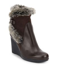Aquatalia | Brown Natalie Faux Fur-trimmed Leather & Suede Wedge Booties | Lyst