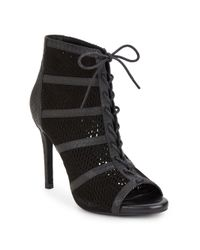 Joie - Black Shari Embossed Leather & Suede Lace-up Booties - Lyst