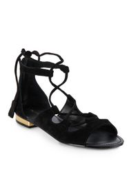 Saks Fifth Avenue - Black Cadence Suede Lace-up Sandals - Lyst