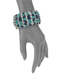 Heidi Daus - Blue Wrapped In Sparkle Swarovski Crystal Hinge Bracelet/goldtone - Lyst