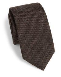 Saks Fifth Avenue - Brown Wool & Silk Herringbone Tie for Men - Lyst