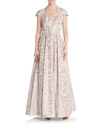 THEIA | Pink Rose-print A-line Gown | Lyst