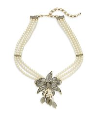 Heidi Daus - Metallic Budding Bloom Faux Pearl Crystal Flower Pendant Necklace - Lyst