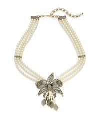 Heidi Daus | Metallic Budding Bloom Faux Pearl Crystal Flower Pendant Necklace | Lyst