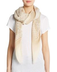 Saks Fifth Avenue - Brown Bleached Detail Scarf - Lyst