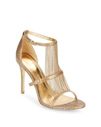 Vince Camuto | Black Marston Chain-trimmed Embossed Leather Sandals | Lyst