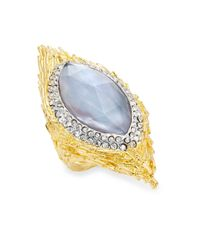 Alexis Bittar | Metallic Elements Iolite, Mother-of-pearl & Crystal Pavé Marquis Feather Ring | Lyst