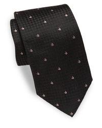 Armani - Black Textured Silk Tie for Men - Lyst