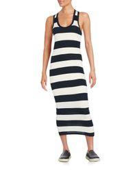 James Perse   White Striped Racerback Maxi Dress   Lyst