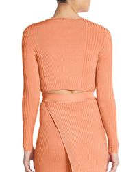 Torn By Ronny Kobo - Pink Laszlo Ribbed Knit Cropped Top - Lyst