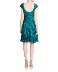 THEIA - Blue Petal-embellished Dress - Lyst