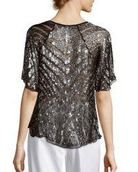 Parker - Black Embellished Asymmetric Raglan Sleeve Top - Lyst