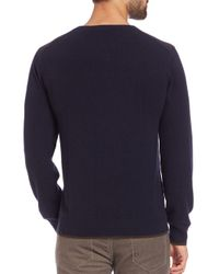 Qi - Blue Triangle Print Cashmere Sweater for Men - Lyst