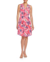 Rebecca Taylor | Pink Floral-print Silk Dress | Lyst