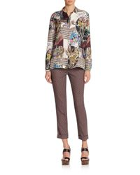 Etro | Brown Cady Diamond-pattern Stretch Wool Cropped Pants | Lyst
