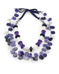 Weekend by Maxmara - Blue Faceted Stones Necklace - Lyst