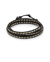 Chan Luu | Metallic Pyrite & Sterling Silver Wrap Bracelet | Lyst