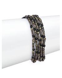 Chan Luu   Black Pyrite Beaded Slip-on Bracelet   Lyst