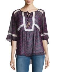 T-bags   Gray Chiffon Lace-trimmed Top   Lyst