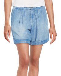 Splendid | Blue Pleated Denim Shorts | Lyst
