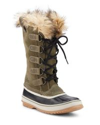Sorel | Multicolor Joan Of Arctic Faux Fur-trimmed Suede & Leather Lace-up Boots | Lyst
