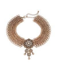 Cara - Metallic Chainmail Pendant Choker Necklace/goldtone - Lyst