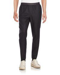 Vince | Gray Leather-trim Wool-blend Jogger Pants for Men | Lyst
