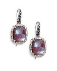 Stephen Dweck   Metallic Verona Mother-of-pearl, Diamond, Garnet & Sterling Silver Doublet Drop Earrings   Lyst