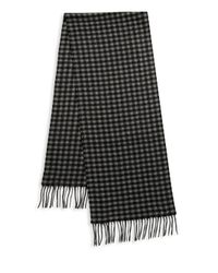 Saks Fifth Avenue - Black Gingham Cashmere Scarf for Men - Lyst