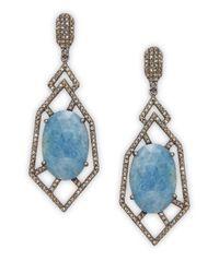 Bavna | Blue 2.50tcw Diamonds, Aquamarine & Sterling Silver Drop Earrings | Lyst