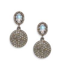Bavna | Metallic 2.30tcw Diamonds, Rainbow Moonstone & Sterling Silver Drop Earrings | Lyst