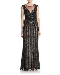 Basix Black Label | Black Sequined Lace Illusion-top Trumpet Gown | Lyst