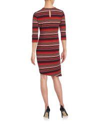Eci - Red Striped Sheath Dress - Lyst
