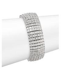 Saks Fifth Avenue - Gray Wide Crystal Tennis Bracelet - Lyst