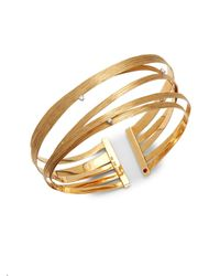 Roberto Coin - Metallic Basic Gold Diamond & 18k Yellow Gold Cuff Bracelet - Lyst