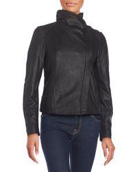 T Tahari   Black Andreas Leather Moto Jacket   Lyst