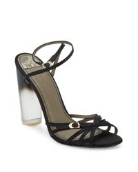 Versace | Natural Lucite-heel Strappy Satin Sandals | Lyst