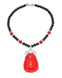 Kenneth Jay Lane - Red Carved Pendant Beaded Necklace - Lyst