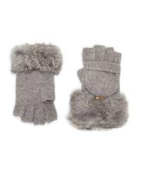 Adrienne Landau - Gray Rabbit Fur-trimmed Fingerless Gloves - Lyst
