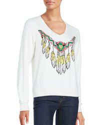 Wildfox | White Route 66 Long Sleeve Graphic Top | Lyst