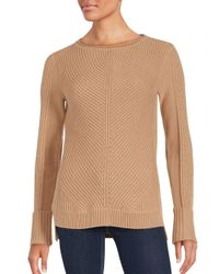 VINCE | Natural Directional Ribbed Wool & Cashmere Knit Sweater | Lyst
