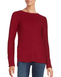 VINCE | Red Directional Ribbed Wool & Cashmere Knit Sweater | Lyst