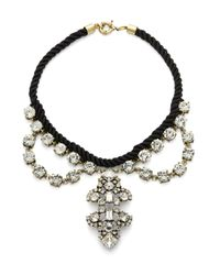 Saks Fifth Avenue | Black Crystal Stud Chord Necklace | Lyst