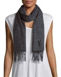 Saint Laurent - Gray Herringbone Wool & Cashmere Scarf - Lyst