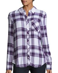Beach Lunch Lounge | Purple Long Sleeve Plaid Shirt | Lyst