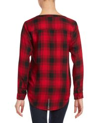 Saks Fifth Avenue - Red Collarless Plaid Button-up Shirt - Lyst