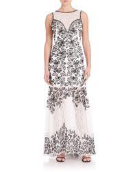 Sue Wong | Black Floral Lace Trumpet Gown | Lyst